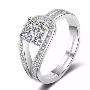 Resizeable Open AAA+CZ Crystal Hearts Silver ring